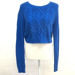 EXPRESS Royal Blue Knitted Crop Top